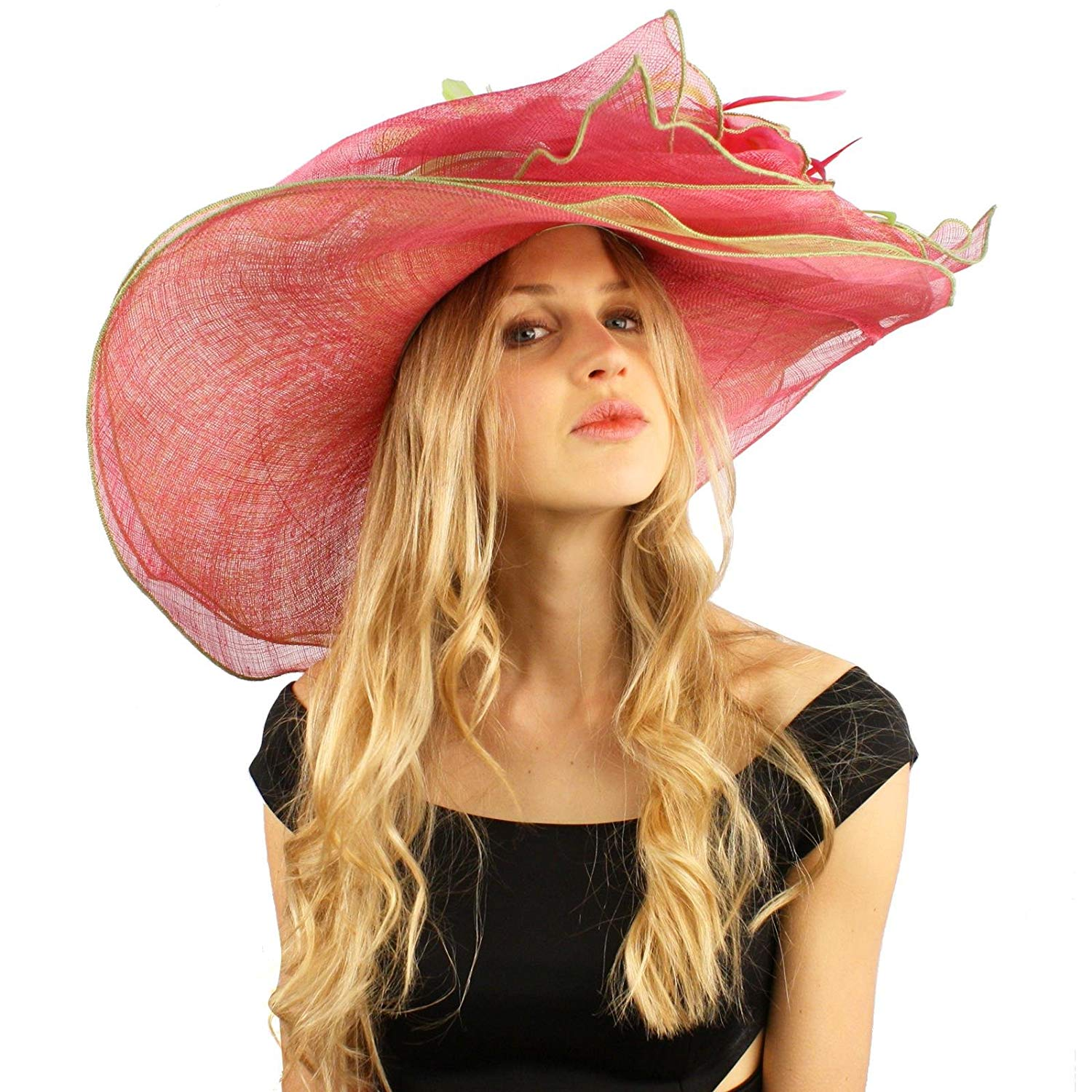 d1829d68c18b Get Quotations · SK Hat shop Spectacular Floral Layered Sinamay Derby  Floppy Wide Brim Dressy Hat