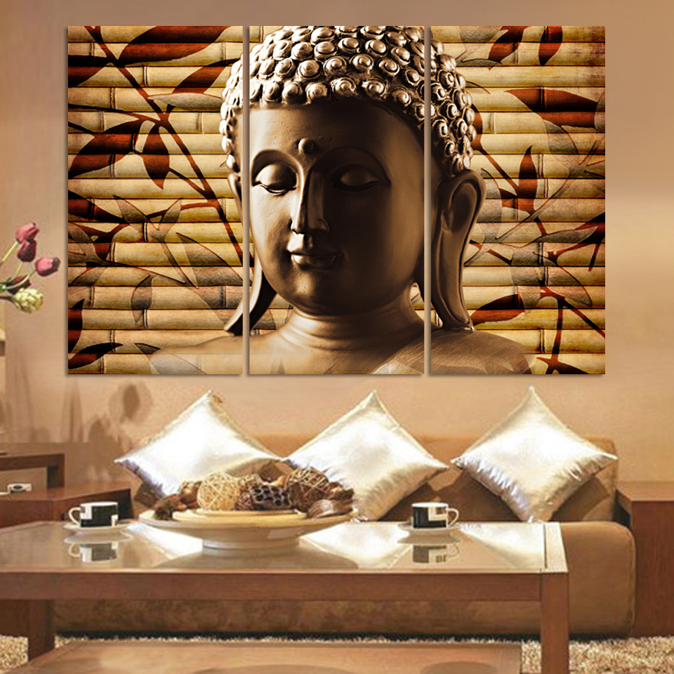 (Unframed)3pieces Classical Buddha Painting Solemn Buddhism Wall Canvas Art <font><b>Asian</b></font> Religion Ancient Picture For House <font><b>Decoration</b></font>
