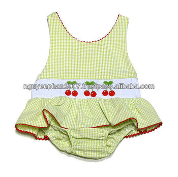 b51c46d930f93 Baby - Toddler Girls Green Mini Check Smocked Red Cherries Ruffle One Piece  Swimsuit
