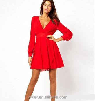 602afcc836b3 Ingrosso abito estivo 2015 nuove donne vestito rosso Europa e America sexy  a v profonda- collo