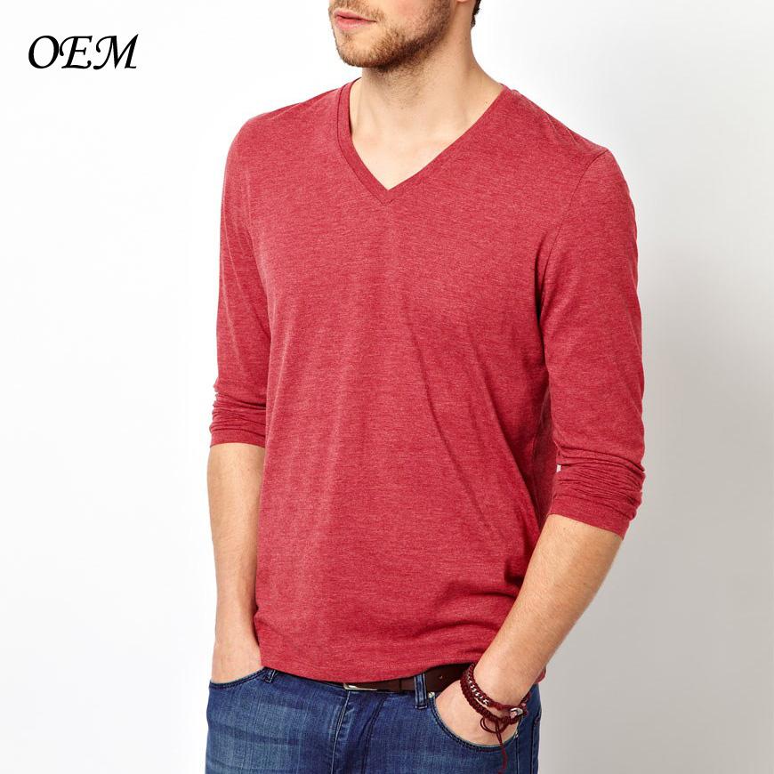 50% 50% de algodón poliéster de cuello en v manga larga camisetas para  hombre 75e81d91e04