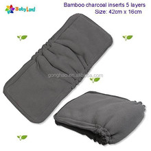 2015 NEW - Naturally Baby Cloth Diaper 5 Layer Charcoal Bamboo Pad for with Gussets for Cloth Diaper