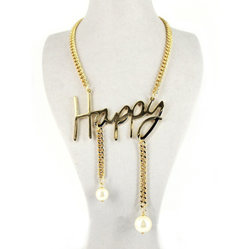 Cheap Custom Gold Plated Happy Letter Necklace With Pearl