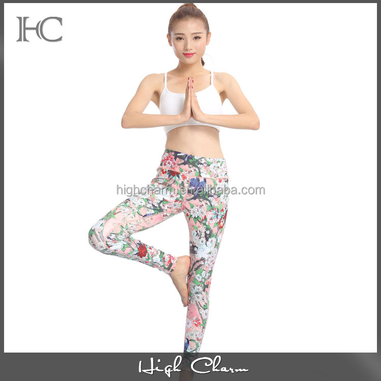 2017 new product wholesale low moq poly spandex gym running sports slim n lift luxury 3D print sexy yoga pant leggings for women