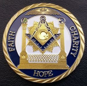 Free-Mason Coin, PROUD FREEMASON FAITH,CHARITY & HOPE 24K Gold Plated Metal Challenge Coin