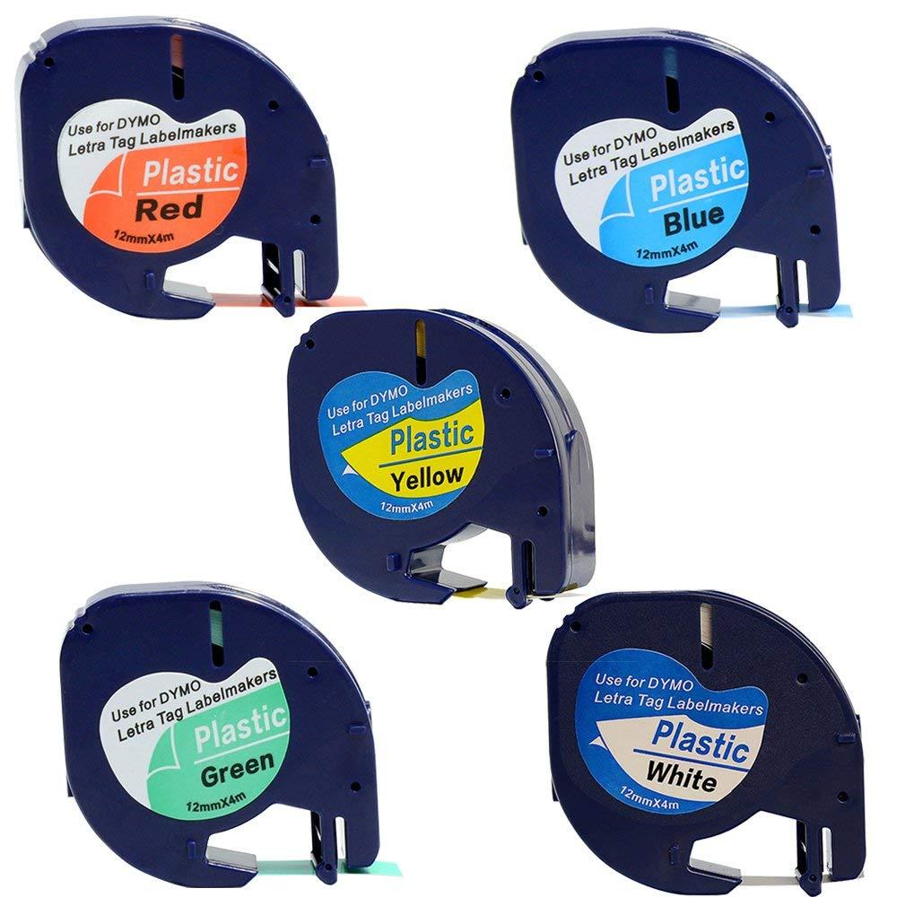 Replace DYMO LetraTag Refills Label Tape 91331 91332 91333 91334 91335 Denplix Label Tape, 12mm x 4m (1/2 inch x 13 Feet) for Dymo LetraTag Plus LT100H LT100T QX50 Label Maker - 5 Pack