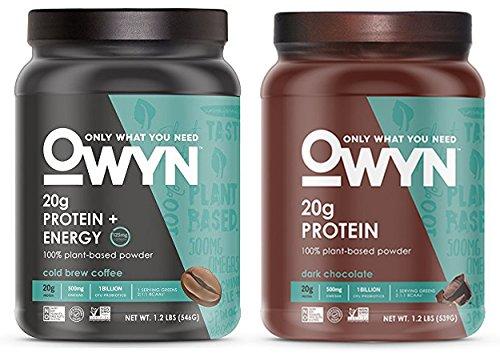OWYN 100% Plant-Based Vegan Allergen-Friendly Protein-Powder, 28 Servings, 2 Count Variety (Dark Chocolate & Cold Brew Coffee)