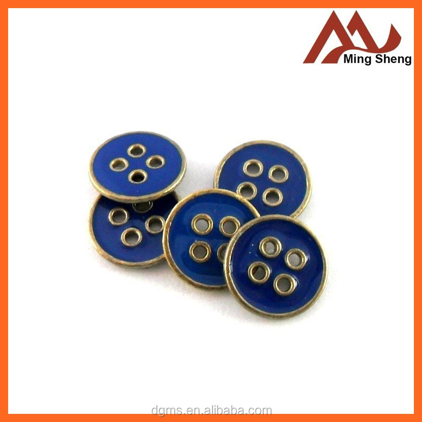 12mm custom design alloy kurta button with blue enamel sewing on