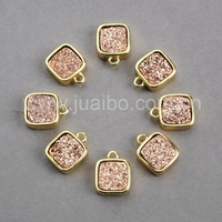 Gold plated natural druzy jewelry,Square natural stone bezel drusy charm wholesale