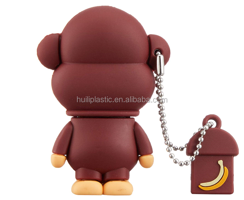 Custom made plastic monkey key chin with USB plastic key chian Promotional gifts