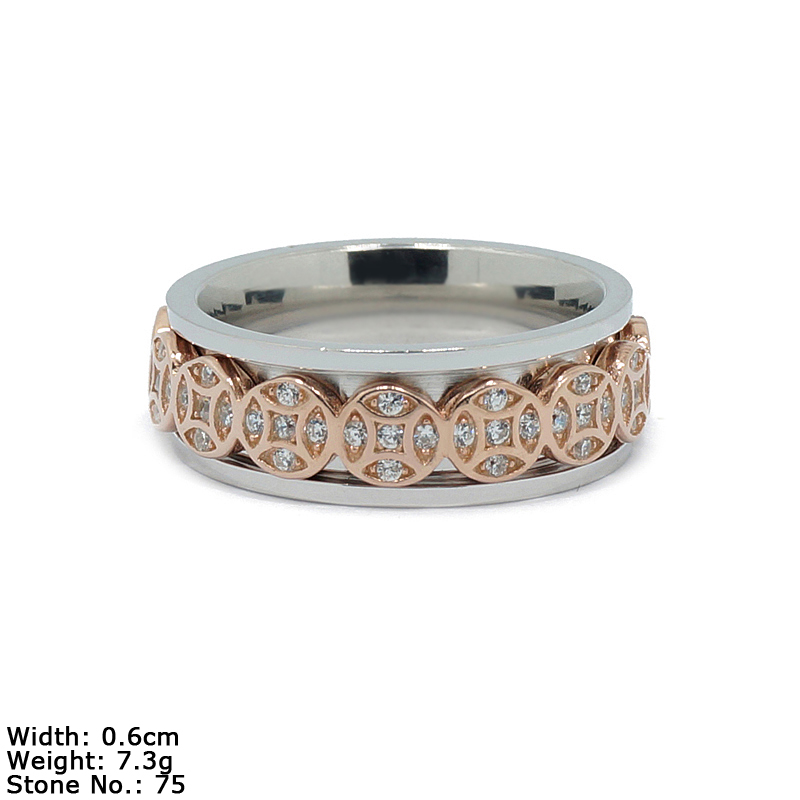RZH-1544 Cheap Silver Jewelry Ring with CZ Stone And Coin Silver Jewelry Ring rotating Ring