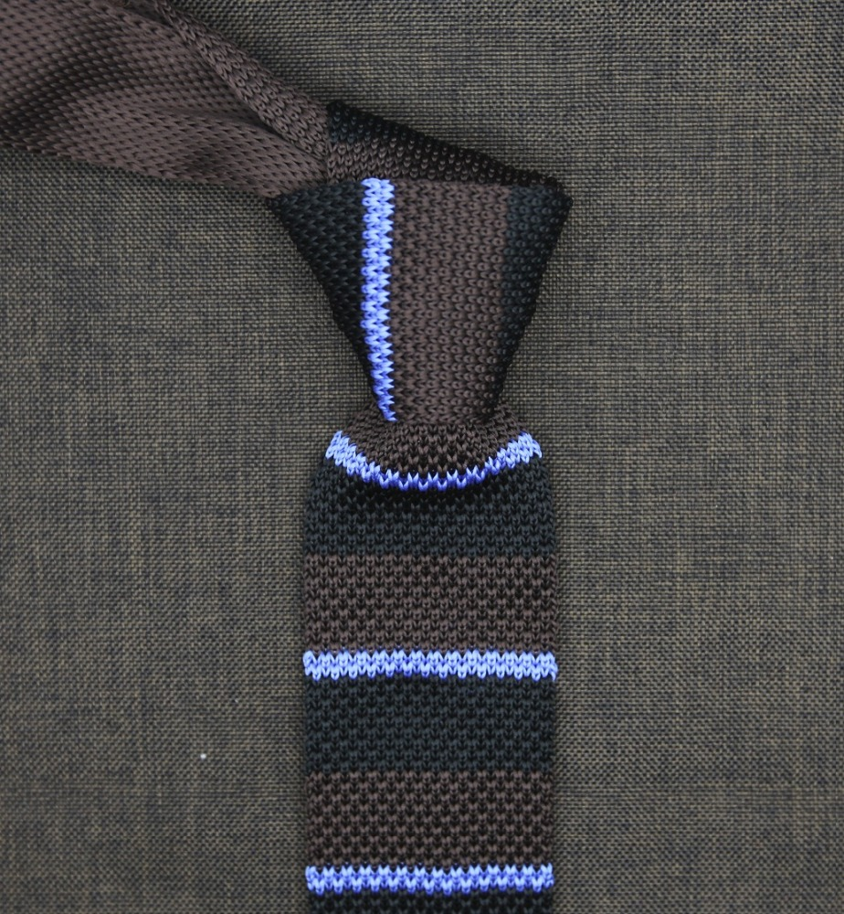 brown sky blue navy stripes pattern knit ties