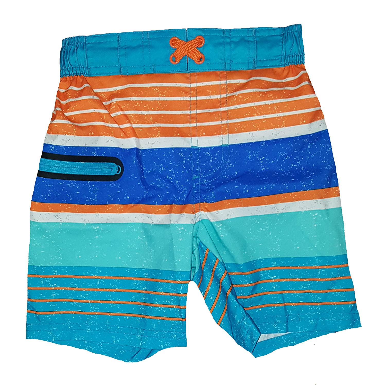 127635faa579a Get Quotations · Wonder Nation Hawaiian Ocean Blue & Orange Stripes Swim  Trunk Shorts