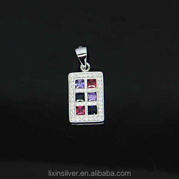 LIXIN 925 sterling silver color stone pendant (SLL09-03FO)