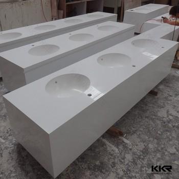 White Cultured Marble Vanity Tops Composite Quartz