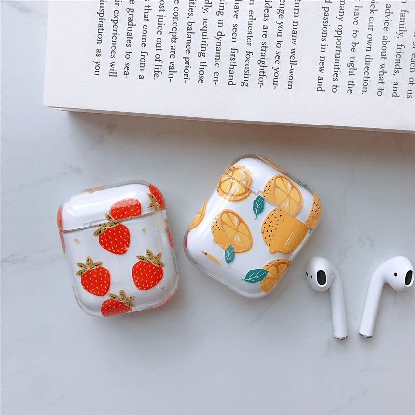 Cute clear flamingo fruits floral <strong>case</strong> for Apple Airpods <strong>case</strong> protective cover