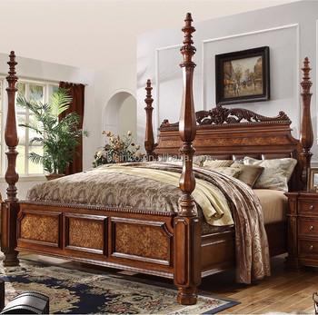 Luxury American classic bedroom solid wood hand carved four poster double  bed