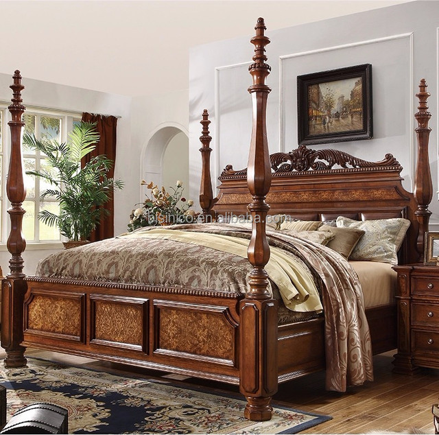 Luxury American Classic Bedroom Solid Wood Hand Carved Four Poster Double Bed Buy Double Bedfour Poster Double Bedamercian Solid Wood Four Poster