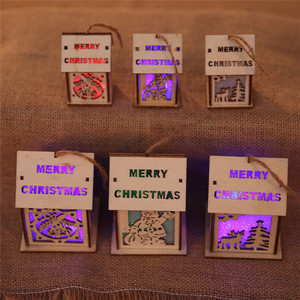 Festival LED Light Wood House Christmas Tree Hanging Ornaments Nice Xmas Gift Wedding Decoration Christmas Party Home Decor