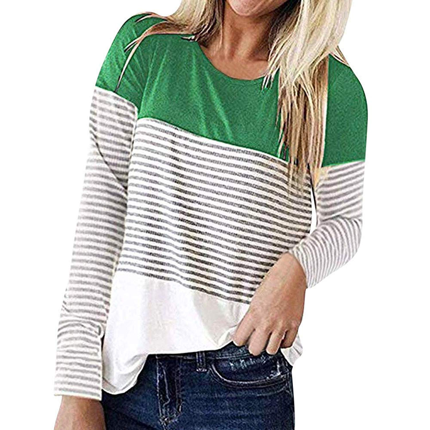 Women's Comfy Round Neck Triple Color Block Stripe T-Shirt Long Sleeve Casual Blouse Tops Tunic