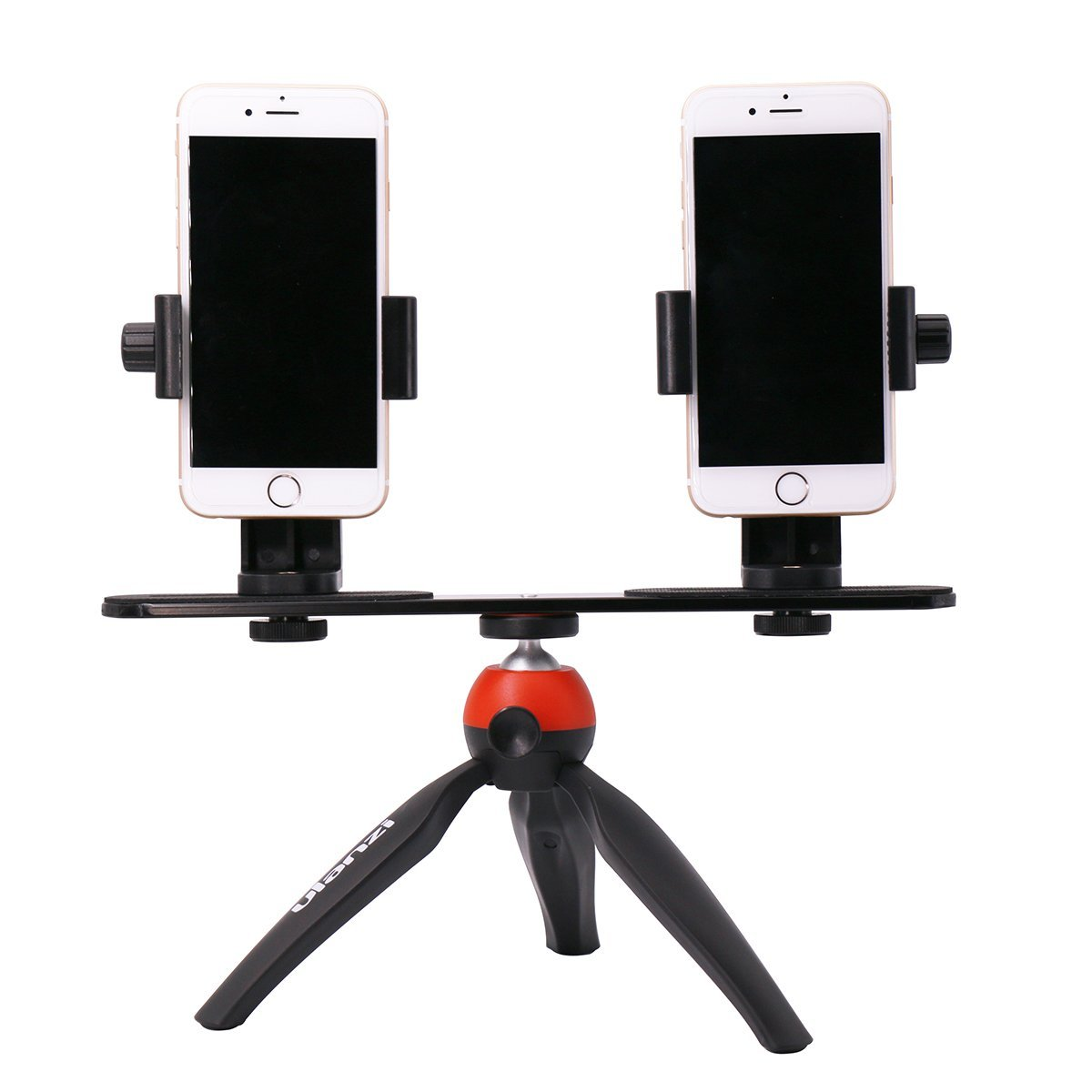 Dual Device Tripod with 2 Phone Tripod Mount Setup Option for Facebook Youtube Live Streaming, Video Recording Etc.