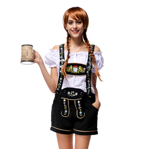 a12fdedf749 Women Beer Girl Maid Carnival German Oktoberfest Adult Floral Embroidery  Overalls Waitress Halloween Costume