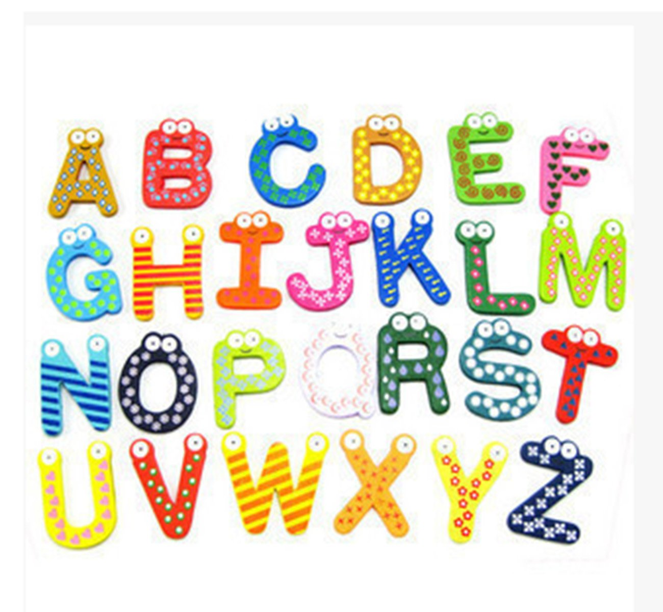 26pcs Funky Fun Colorful Wooden Magnetic Letters A-Z Wooden Fridge Magnets Kid toys Education