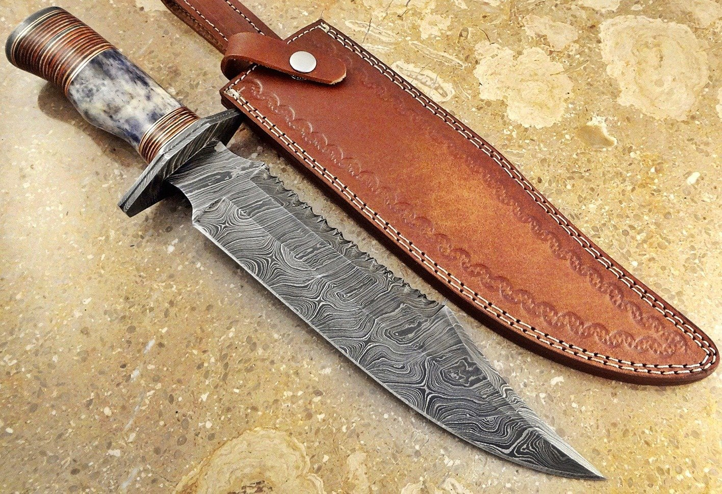 ColdLand Knives | One-of-a-Kind 15'' Custom Handmade Damascus Steel Bowie Hunting Knife HH07