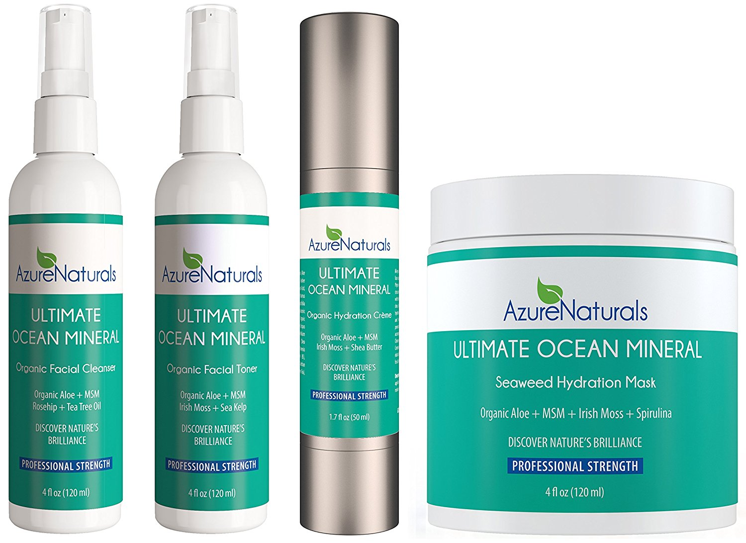 ULTIMATE OCEAN Mineral Gift Set Includes Ocean Mineral Hydration Cream + Organic Ocean Mineral Toner + Natural Cleanser + Seaweed Hydration Facial Mask