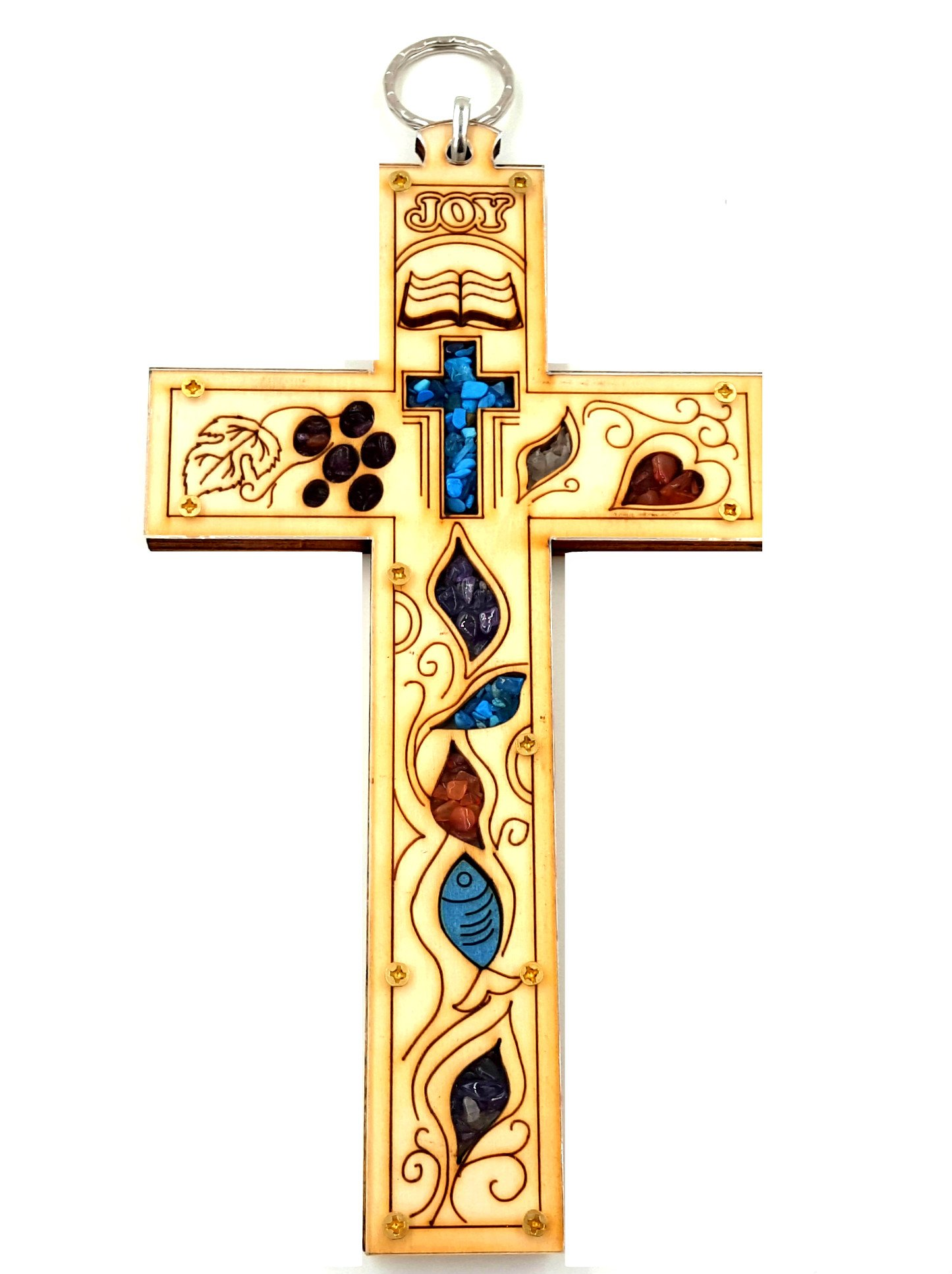"""8"""" Catholic Wall Cross from Jerusalem Holy Bible Christian Ornament With Natural Colorful Gemstones Holy Land Gift"""
