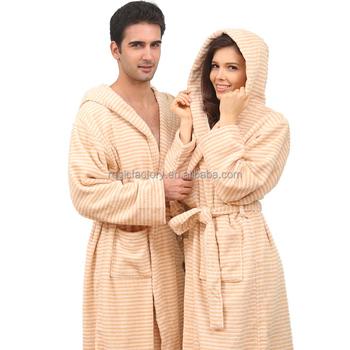 Couple Loungewear Terry Fleece Gift Set Striped Shawl Collar Hooded Bathrobe 407aeeab0