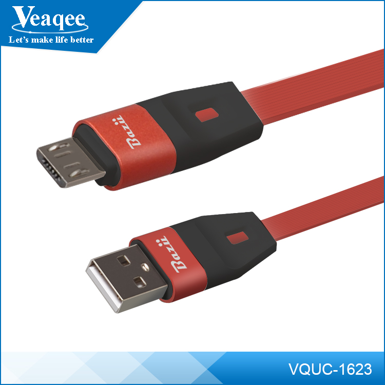 Veaqee phone spare parts manufacturer custom flat retractable micro usb data charger cable
