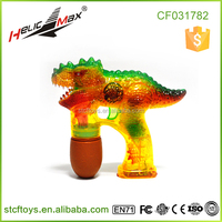 2016 Hot Item Transparent Bubbles Shooter with Sound and LED Flashing Light UP Dinosaur Bubble Gun