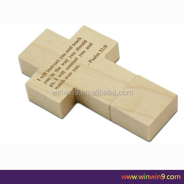 Hot Sale Free Sample wooden cross shape usb flash drive for Promotional Gift