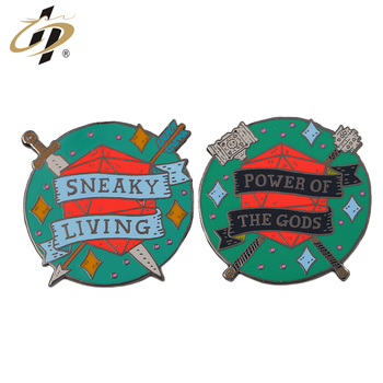 Personalized customization Black nickel plated hard enamel power of the gods  cartoon lapel pins