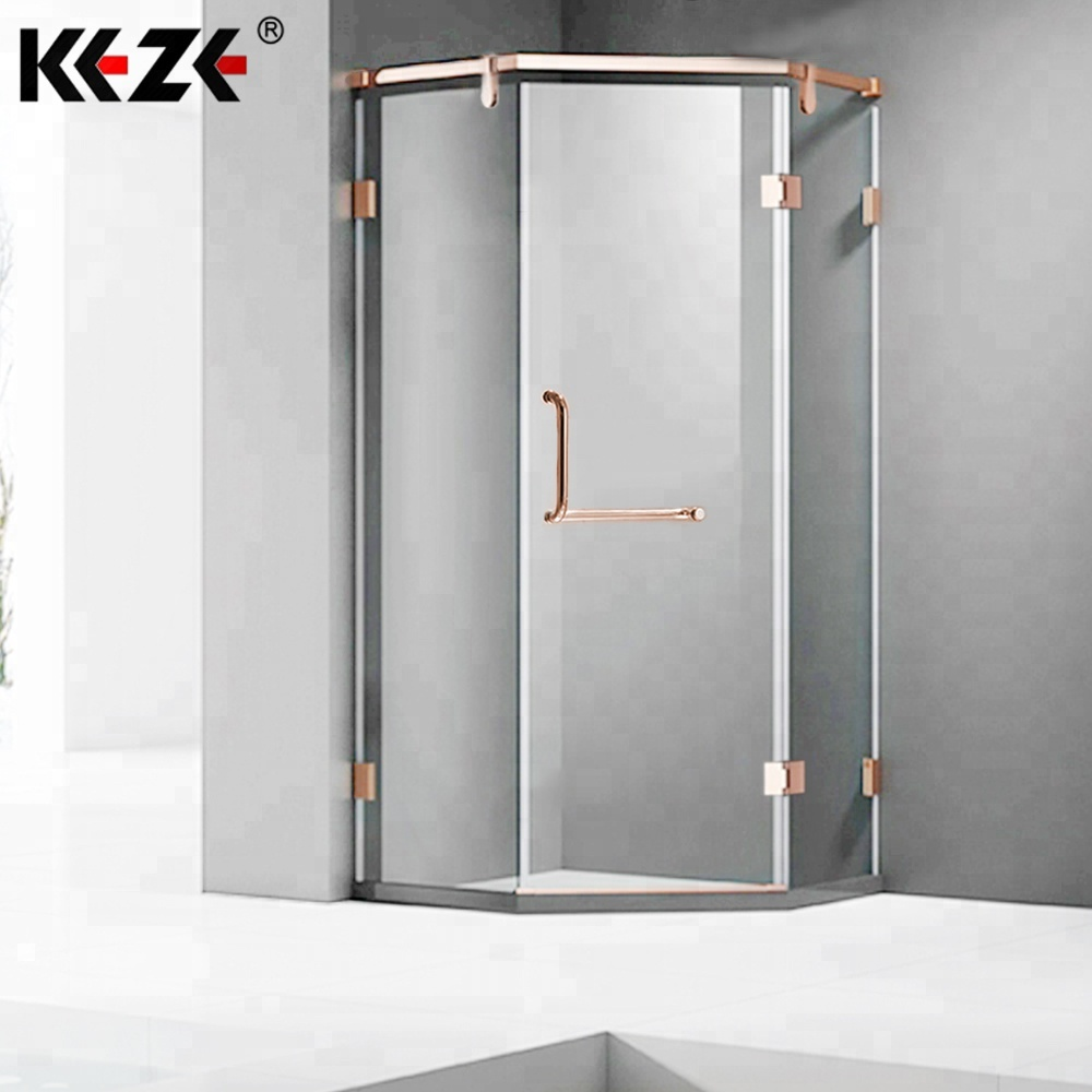 Plegable standard pivot half frosted glass frameless hinge diamond shower door