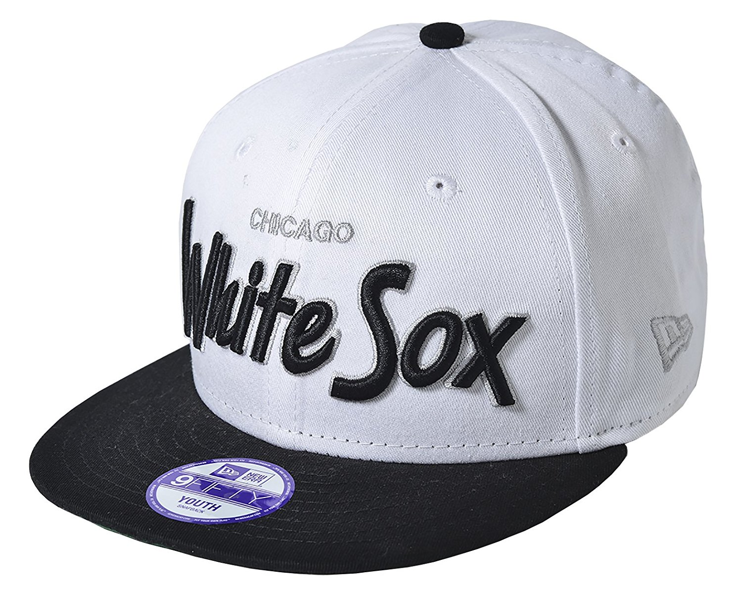 c96830433b7 Get Quotations · New Era Youth Chicago White Sox MLB Script Team Logo  9FIFTY Snapback cap