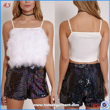 China Supplier Latest Fashion Blouse Design Ladies Tops Images Fluffy Front Crop Top