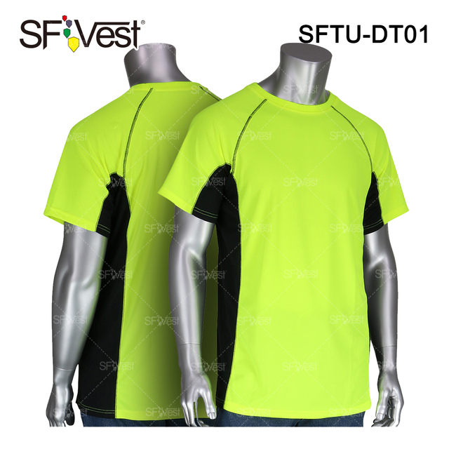 Wholesale custom 100% polyester jersey crew breathable yellow with bottom black t shirt