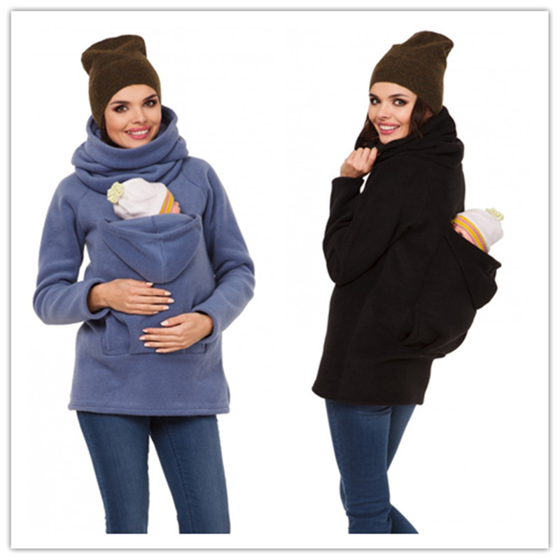 Kangaroo Carrier Baby Holder Jackets Women's Maternity Carrier Baby Holder Jacket Hoodies Outwear Pregnancy Coat