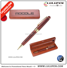 Customized Rosewood Pencil With Wooden Gift Box Promotional Wooden Pen Gift Sets (Lu-4013)
