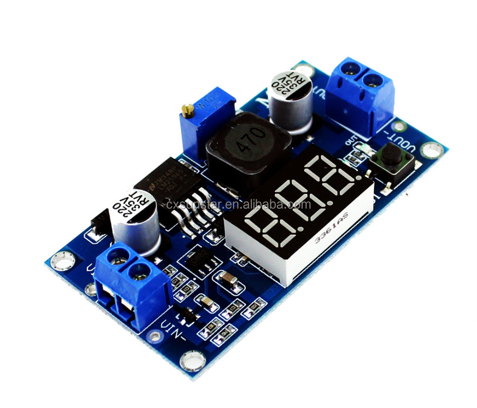 LM2596 power module + LED Voltmeter DC-DC adjustable step-down power supply module with digital display