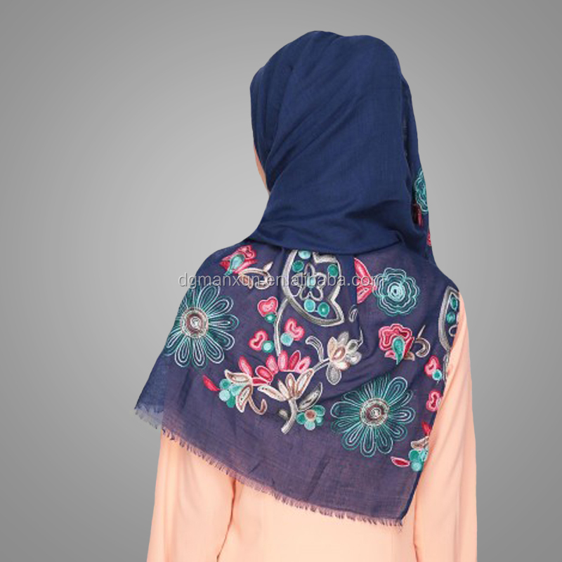 Wholesale Muslim Ladies Enchanted Blue Floral Embriodering Hijab Stylish Scarf