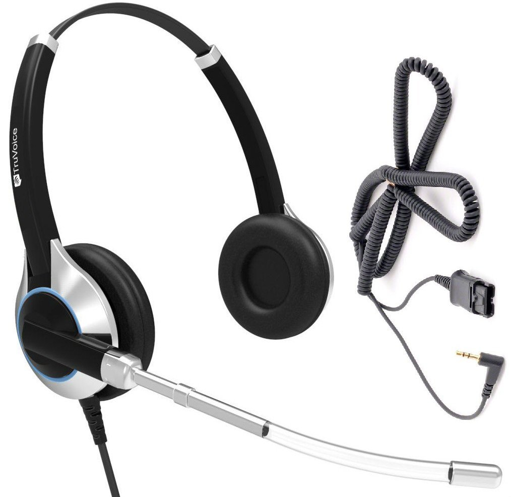 Deluxe Double Ear Headset With a Noise Reduction Voice Tube Microphone and a 2.5mm adapter cable for Cisco SPA: 303, 501G, 502G, 504G, 508G, 509G, 525G 512G, 514G,525G2