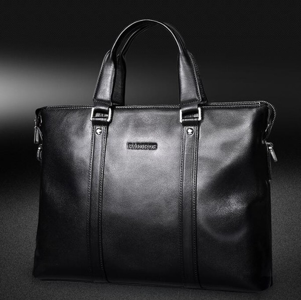 Padieoe NB160859-1 Black top layer leather wholesale briefcase for man