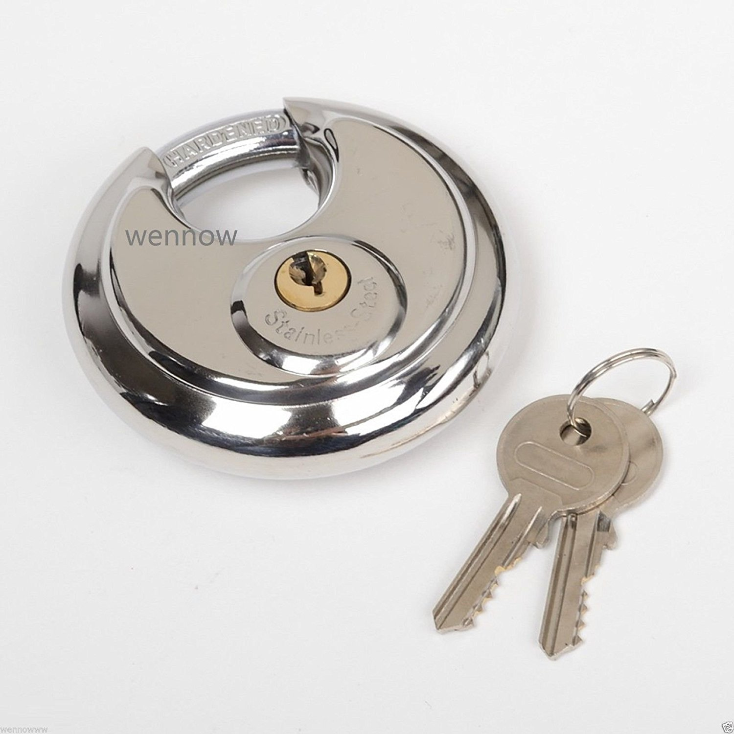 Wennow 70mm Heavy Duty Stainless Steel Disc Padlock Round Lock