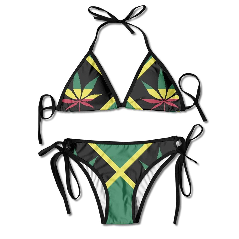 d428fc0e3b8 Get Quotations · Fashion Women's Jamaica Flag Colorful Leaf Tie Side Bottom  Triangle Bikini Swimsuits