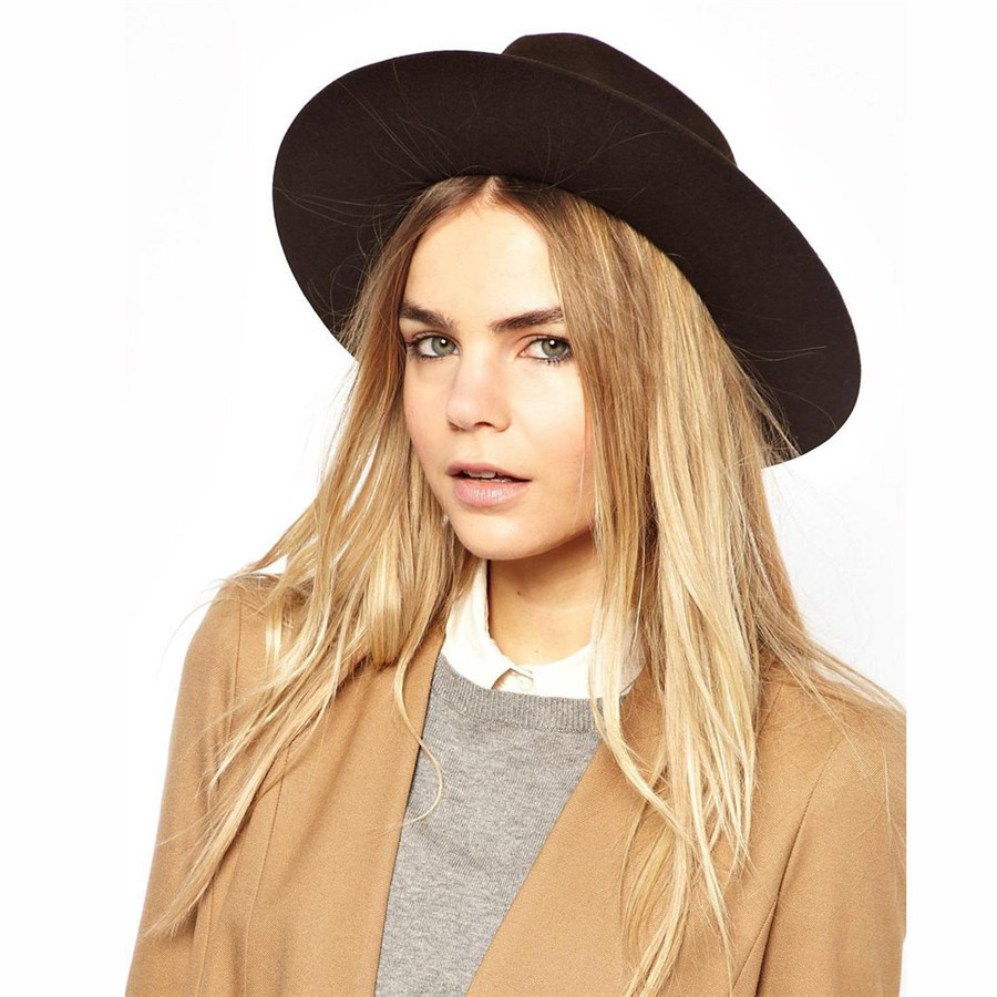 Buy Hot Sale 2015 New Wool Blend Women Black Church Hats Winter Large  Brimmed Womans Headwear with BowTie Korean Style Ladies Hats in Cheap Price  on ... 7a08aec82f3