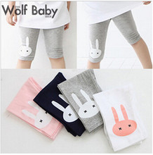 Retail 2-7years 4 color rabbit footless girls knee length kid Five pants Cropped clothing kids leggings children's summer cool