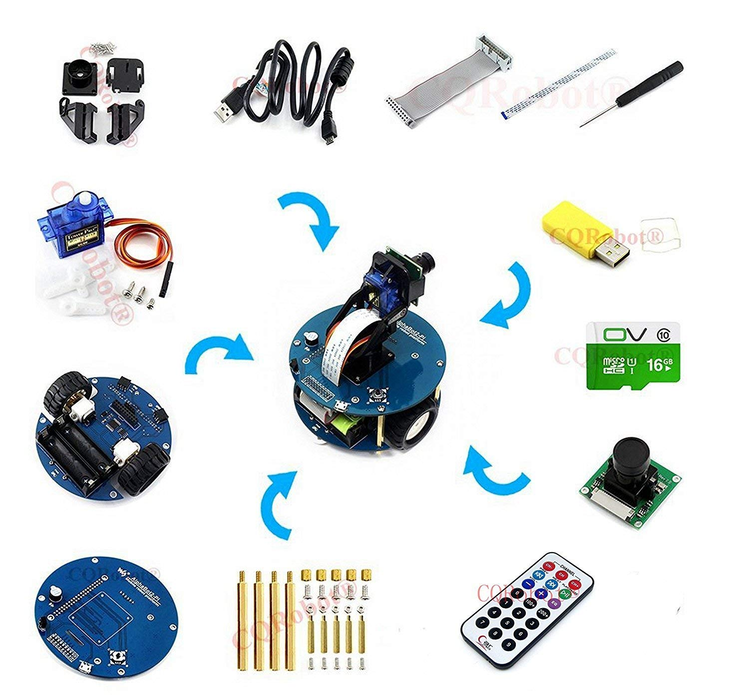 CQRobot AlphaBot2-Pi Accessory Pack (No Pi) for Raspberry Pi 3, Features Rich Common Robot Functions: Line Tracking, Obstacle Avoiding, Bluetooth/Infrared/Wifi Remote Control, Video Monitoring.